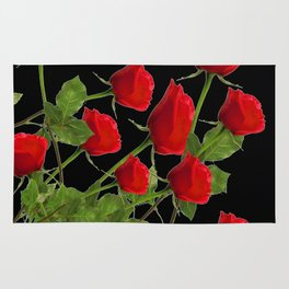 RED LONG STEM ROSES BLACK  BOTANICAL ART Rug
