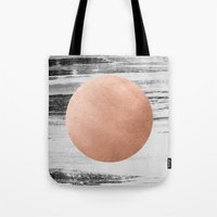 rose gold Tote Bags featuring rose gold #1 by LEEMO