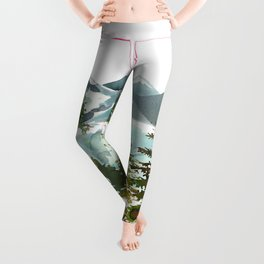 Forest green teal blue watercolor hand painted landscape Leggings