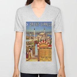 Vintage poster - Orient Express Unisex V-Neck