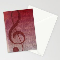 Red Pink Grunge Music Sounds Stationery Cards