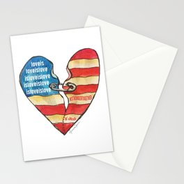 Torn Heart Flag Held Together With a Safety Pin Stationery Cards