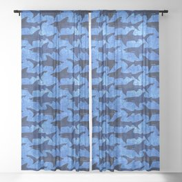 Sharks in the Blue, Blue Sea Sheer Curtain