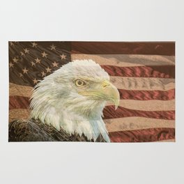 Rustic Bald Eagle on American Flag A213 Rug
