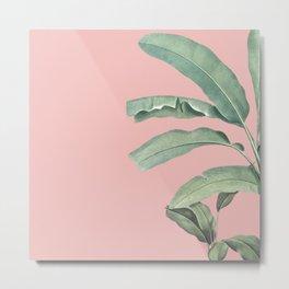 Green leaves on rose ink Metal Print