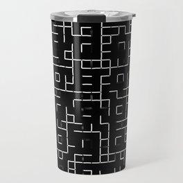 Maze - Black and white, abstract, maze pattern Travel Mug