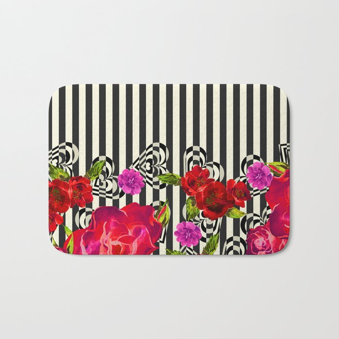 Flowers with Stripes and Hearts Bath Mat
