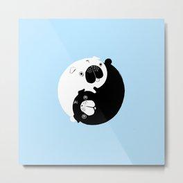 Yin Yang Pugs Metal Print