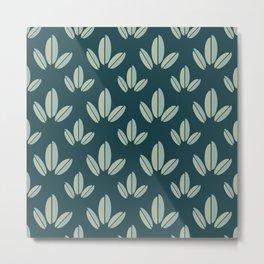 Modern Leaves Dk Green Metal Print
