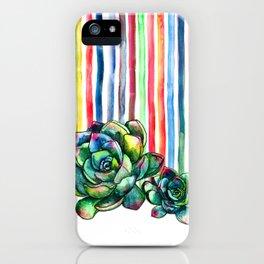 Rainbow Succulents - pencil & watercolor illustration iPhone Case