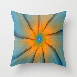 Cracked in Blue Orange and Green Throw Pillow