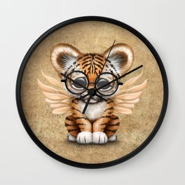 Tiger Cub with Fairy Wings Wearing Glasses Wall Clock