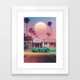 Synthwave Sunset Drive Framed Art Print