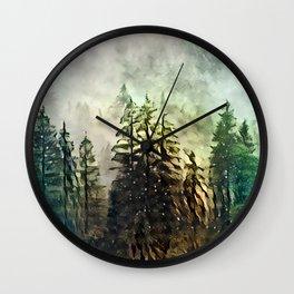 Tree's in the mist Wall Clock