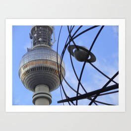 """BERLIN TV Tower with detail of """"World time Clock"""" Art Print"""
