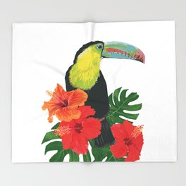 Toucan and hibiscus Throw Blanket