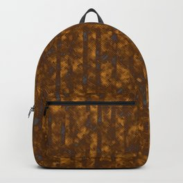 Broken Blue Stripes and Brown Cross Hatch Pattern Backpack