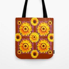 CINNAMON COLOR YELLOW SUNFLOWERS ART Tote Bag
