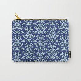 Custom Retro Blue Floral Pattern Carry-All Pouch
