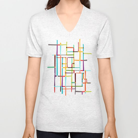 The map (after Mondrian) Unisex V-Neck