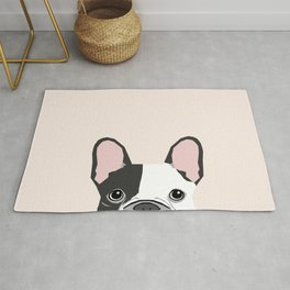 French Bulldog peeking cute black and white frenchie must have dog mom pet lover gifts Rug