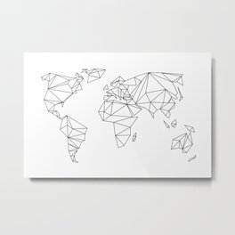 geometrical world map - white Metal Print