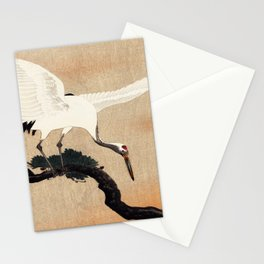 Crane Bird Branch Traditional Japanese Wildlife Stationery Cards