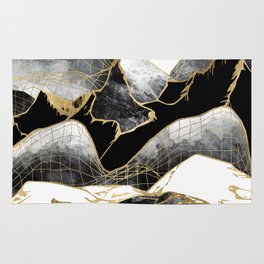 Minimal Black and Gold Mountains Rug