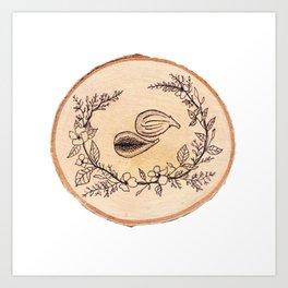 Fig Wreath Botanical Wood Study Illustration Art Print