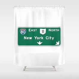 New York City Interstate 80 Sign Shower Curtain