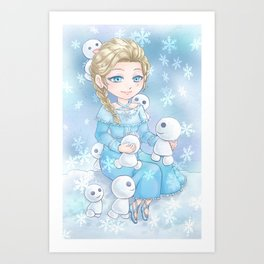 Snowy gathering Art Print