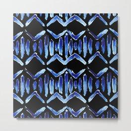 "Black and Blue Watercolor Pattern ""Zig Zag Stripes"" Metal Print"