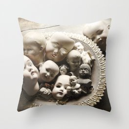 Rucus Studio Antique Doll Heads Throw Pillow