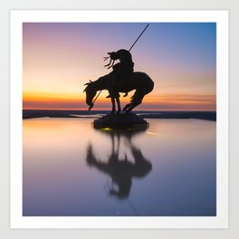 Top of the Rock Native American Statue Silhouette Reflections Art Print