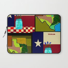 A Texas Quilt, State Flag and Blue Bonnets Laptop Sleeve
