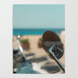 Close-up of a Moped Mirror by the Beach in Cala Sant Vicenc, Mallorca, Spain Poster