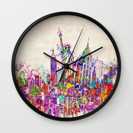 New York skyline colorful collage Wall Clock