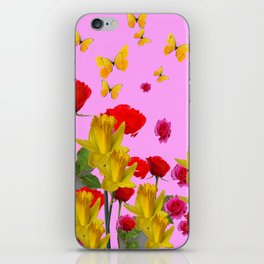 DECORATIVE YELLOW BUTTERFLIES, RED ROSES, DAFFODILS SPRING FLOWERS iPhone Skin