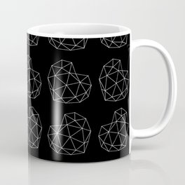 Geometric berry heart pattern design on black #Society6 Coffee Mug