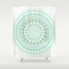 Mint White Geometric Mandala Shower Curtain