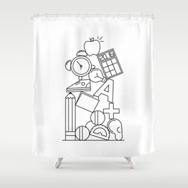 Pile Two (Back to School!) Shower Curtain