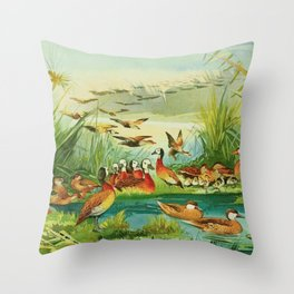 Amazonian birds by Göldi & Emil August 1859-1917 Belem Brazil Colorful Tropical Birds Ducks Throw Pillow