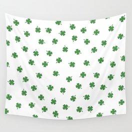Green Shamrocks White Background Wall Tapestry