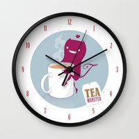 mandie manzano Wall Clocks featuring Tea Monster by DWatson