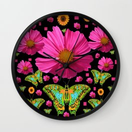 FUCHSIA PINK COSMO FLORALS GREEN MOTHS Wall Clock