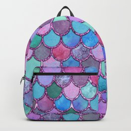 Colorful Pink Glitter Mermaid Scales Backpack