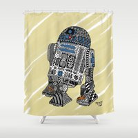 r2d2 Shower Curtains featuring R2D2 by Rebecca Bear