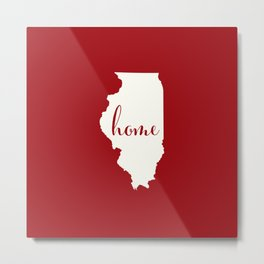 Illinois is Home - Red on White Metal Print