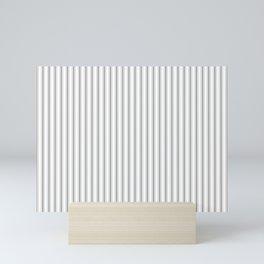 Mattress Ticking Narrow Striped Pattern in Charcoal Grey and White Mini Art Print