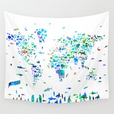 world map animals collage Wall Tapestry